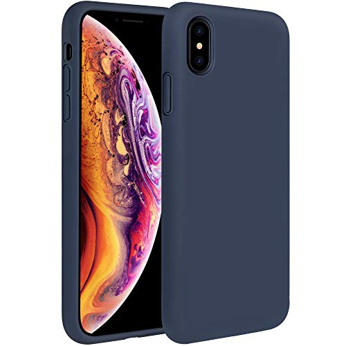(Miracase Liquid Silicone Case Compatible with iPhone Xs (2018)/ iPhone X(2017) 5.8 inch, Gel Rubber Full Body Protection Shockproof Cover Case Drop Protection Case (Navy Blue))