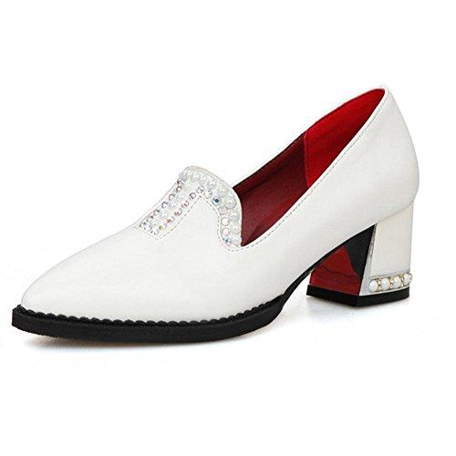 desgaste rojo H goma HCuatro tacón Beige white 40 inclinado zapatos diamante temporadas blanco Negro antideslizante de de mujeres resistente XIAOGANG medio y d6IwFqI