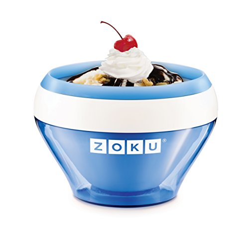 Zoku Ice Cream Maker, Compact Make and Serve Bowl with Stainless Steel Freezer Core Creates Soft Serve, Frozen Yogurt, Ice Cream and More in Minutes, BPA-free, 6 Colors, Blue (Compact Single Bowl)