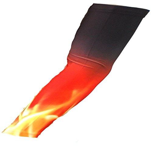 Nexxgen Sports Apparel Moisture Wicking Compression Arm Sleeve (Single) - Men, Women, Adult & Youth - 40 Colors – Digital Camo & Elite (X-large, Flames/fire)