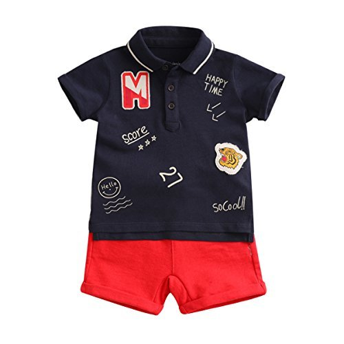 marc janie Summer Little Boys Fashion Letter Pattern Short Sleeve Polo Shirts and Shorts Baby Two Piece Set