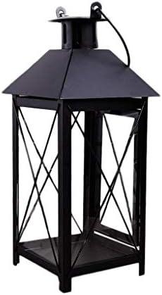 QIQIDEDIAN キャンドルホルダーの装飾飾りロマンチックな暖かいヴィンテージの結婚式の家錬鉄製のガラス (Color : Black)