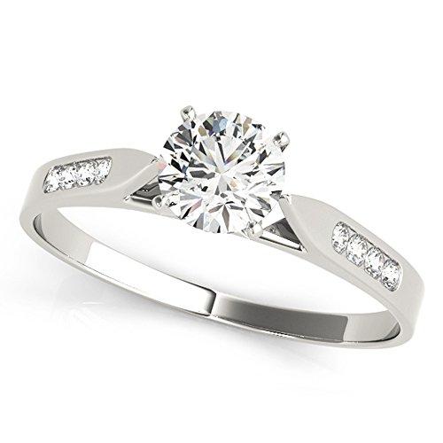 Scintilenora Petite Curve GIA Cerified Diamond Engagement Ring 18k Gold 1 1/3 TDW