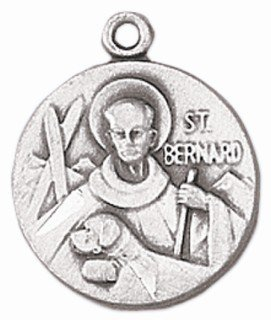 St. Bernard Sterling Silver Medal with 18 Inch Chain