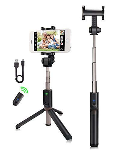 kungfuren Selfie Stick Aluminum iPhone Tripod with Detachable Bluetooth Remote Camera Shutter for iPhone 6s 6 Plus Samsung Galaxy Nexus Moto Android iOS Smartphones Tripod for iPhone
