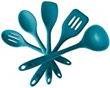 StarPack Premium Silicone Kitchen Utensil Set (5 Piece) in Hygienic Solid Coating + Bonus 101 Cooking Tips (Teal Blue)
