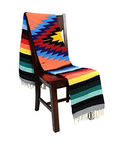 Open Road Goods Mexican Yoga Blanket, Navajo Aztec Diamond XL Thick Serape with Stripes-Orange