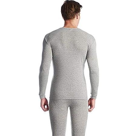 OPPP Set de Ropa Térmica para 100% algodón Invierno Cuello Redondo Traje Largo cálido Hombres súper Suave Color sólido Pijamas cálidos de la Ropa Interior, ...