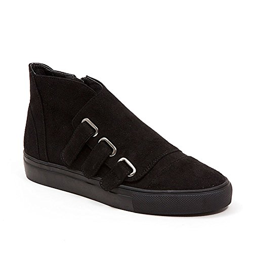 French Blu Womens Jezel Faux Suede Velcro Fashion Sneaker Black Z6YBI