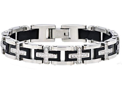 - Blackjack Jewelry Men's Stainless Steel CZ Encrusted Cross Link Bracelet (Black/Silver)