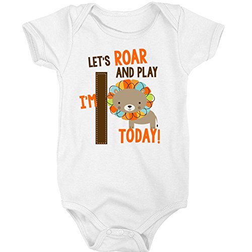 Jungle Bodysuit - First Birthday Shirt - Jungle Zoo Theme Boy's First Birthday (18m Bodysuit, White)
