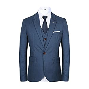 Men's 3 piece Suit One Button Single-breasted Notch-lapel Slim Fit Tux