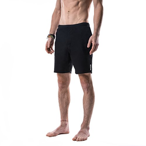 Yoga Crow Mens Pocketless Swerve Shorts w/Odor-Resistant Inner Liner (Large, Crow Black)