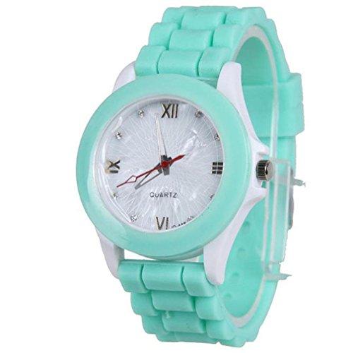 IEason Women Silicone Rubber Jelly Gel Quartz Casual Sports Wrist Watch (Mint Green)