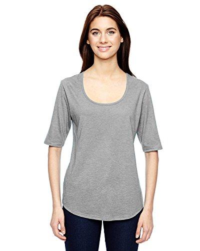 6756L diseño de yunque para mujer Tri-mezcla de espacios para de profundidad 1/2-manga gris - gris
