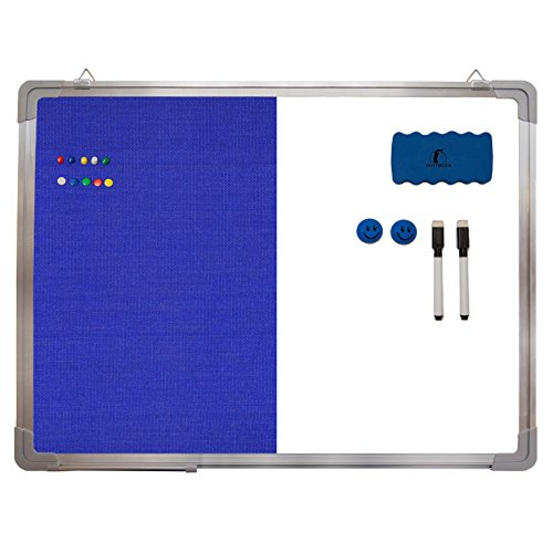 "Combination Whiteboard Bulletin Board Set - Dry Erase / Tack Felt Board 24 x 18"" + 1 Magnetic Dry Eraser, 2 Black Marker Pens, 2 Magnets and 10 Color Pins - Combo Message White Board Office Cubicle"