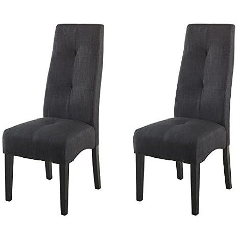 Générique Elite - Juego de 2 sillas Luxe de Sala a Comedor en Madera - revetement Tejido Gris Oscuro - Estilo contemporáneo - L 47 x p 65 cm: Amazon.es: ...