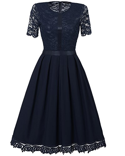 Tempt me Women Vintage Floral Lace Cocktail Flare Swing Wedding Guest Midi Dress Blue M