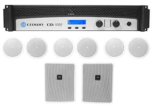 Crown CDi1000 2-Ch 500w 70V Commercial Amplifier+6 JBL Ceiling+2 Wall ()