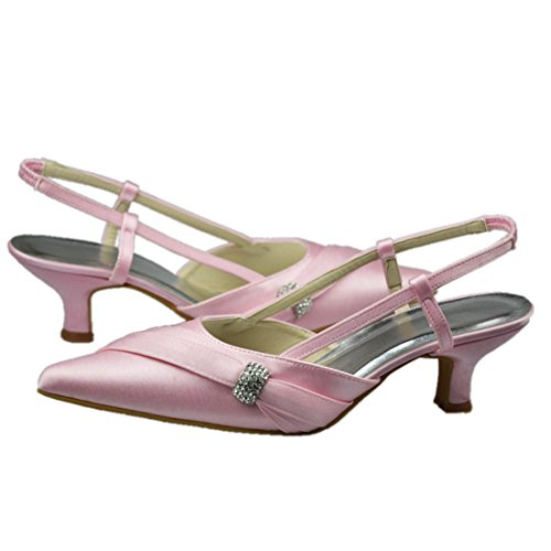 Party Strappy Pumps Evening Wedding 2 Womens Minitoo Inch Heel GYAYL118 Heel 7cm Shoes Pink Satin Toe 5 Closed Bridal AgZwqvBO