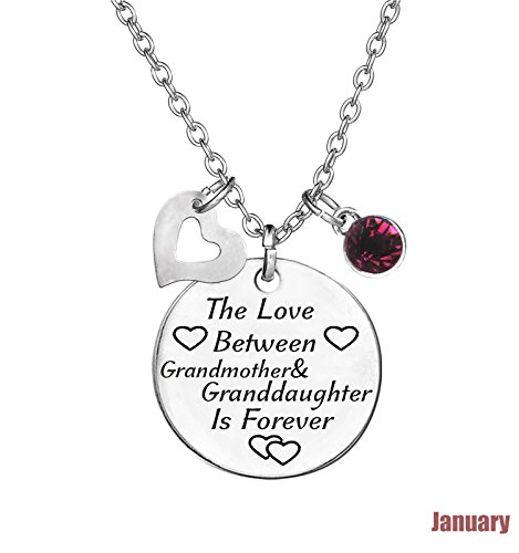 TISDA Birthstone Crystals Necklace,The Love between Grandmother and Granddaughter is Forever Necklace Family Jewelry Christmas Gift (January)