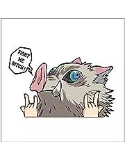 Auto Sticker 16 Cm X 16 Cm Grappige Demon Slayer Inosuke Hashibira Fight Me Anime Gluren Auto Sticker Bumper Motorhelm Decal Vinyl Waterdicht Pvc