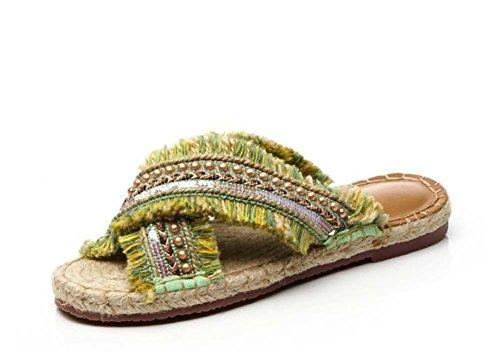 NobS Estilo de vacaciones Perlas Tassil Straw Zapatillas Handmade Straw Zapatillas Beach Shoes Boat Shoes Yellow