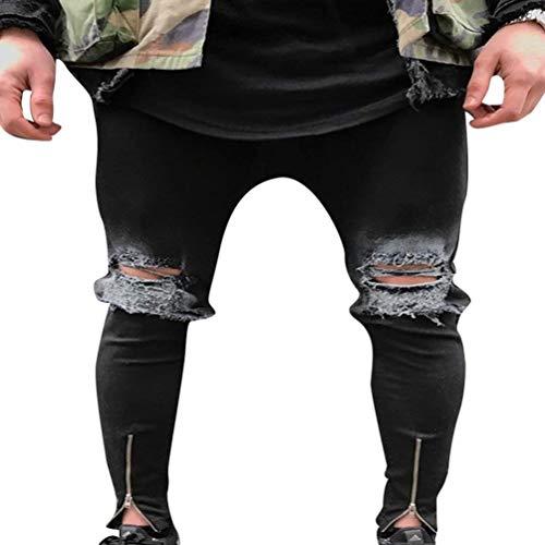 Jeans Da Uomo Lavati Con Stropicciatura Color Ruggine Decorazione Chiusura Dritta Classiche Pantaloni In Denim Casual Fori Strappati A Matita Stretch Ragazzi 1843