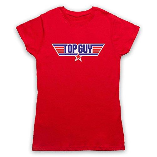 Top Guy Parody Logo Camiseta para Mujer Rojo