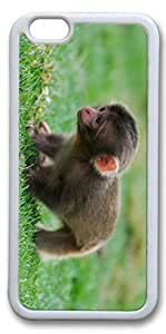 iPhone 6 Cases, Personalized Protective Case for New iPhone 6 Soft TPU White Edge Baby Monkey