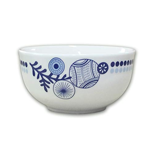 (DoublewhaleBowls Set, 26 OZ Handmade bowls, Simple Lace Blue and White Porcelain, Ceramic Soup Cereal Rice and Salad Bowls (6)