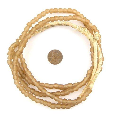 - African Recycled Glass Beads - Full Strand Eco-Friendly Fair Trade Sea Glass Beads from Ghana Handmade Ethnic Round Spherical Tribal Boho Krobo Spacer Beads - The Bead Chest (7mm, Mocha)
