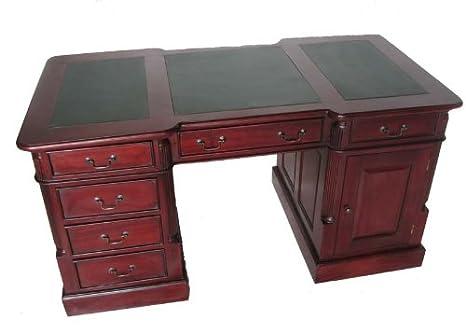 Hmf bureau secrétaire style colonial acajou partner desk recto