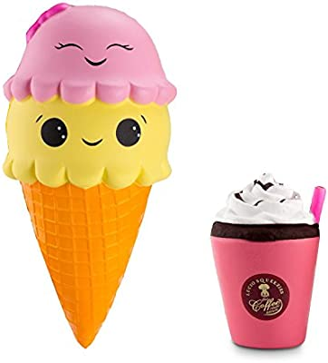 Collectibles Supply Slow Rising Soft Package Mobile Phone Strapes Kitchen Toys Super Jumbo White Ice Cream Cone Squishy Scented Pretty And Colorful Automobiles