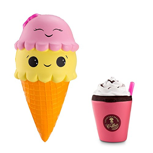 BeYumi Slow Rising Toy, Jumbo Ice Cream Cone Squishy Toy, Cream Drink Squishy, Cream Scented Simulation Cute Squishy Toys Gift for Kids Lovely Stress Relief Toy