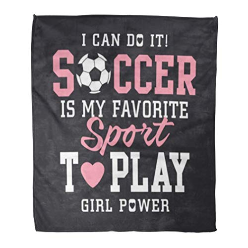 Academy Soccer Ball - Golee Throw Blanket Pink Sport Soccer Football Girl Tee Graphics Team Academy Back 50x60 Inches Warm Fuzzy Soft Blanket for Bed Sofa