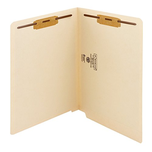 Smead WaterShed/CutLess End Tab Fastener File Folder, Reinforced Straight-Cut Tab, 2 Fasteners, Letter Size, Manila, 50 per Box -