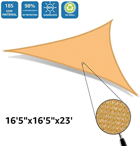 DOEWORKS 16 5 x16 5 x23 Right Triangle UV Block Sun Shade Sail Canopy, Shade for Patio Outdoor Lawn Garden, Sand