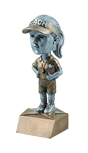 (Decade Awards Coach Bobblehead Trophy - Female | Coach Award | 6 Inch Tall - Free Engraved Plate on Request)