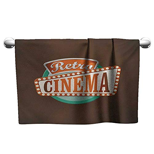alisoso Movie Theater,Fitness Towels Retro Style Cinema Sign Design Film Festival Hollywood Theme Hotel Pool Towels Brown Turquoise Vermilion W 24