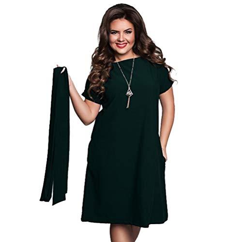 Plus Size High Waist Women Shift Dress Belted Casual Midi Dress Summer Dress Loose Waist Knee Length Dress 4XL (Dark ()