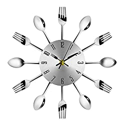 3D Wall Clock Cutlery Kitchen Modern Stainless Steel Fork Knife Creative Novelty Hang Clock Sliver Decorative for Modern Home Office Club