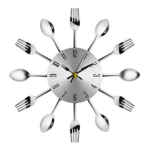 - 3D Wall Clock Cutlery Kitchen Modern Stainless Steel Fork Knife Creative Novelty Hang Clock Sliver Decorative for Modern Home Office Club