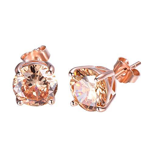 925 Sterling Rose Gold Colour Cubic Zirconia Royal JourneyJewelry Eternity Stud Earring women's best Gifts