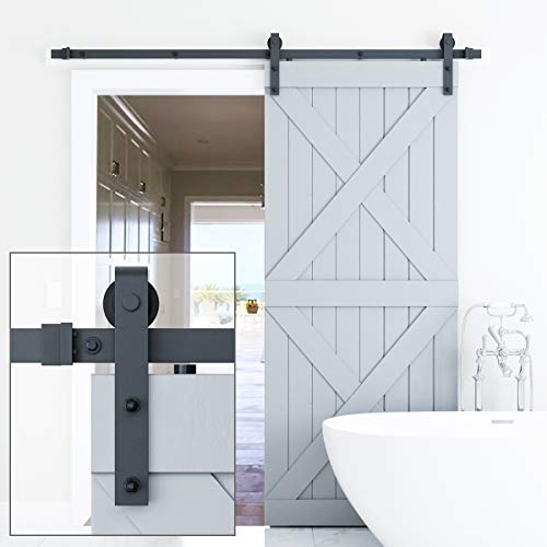 ELICIT 6.6FT Single Barn Door Hardware, Classic Design Standard Track with Upgraded Nylon Bearings, for 36in-40in Wide Sliding DoorPanel, Easy Installation, [Basic J], Black (Barn Track)