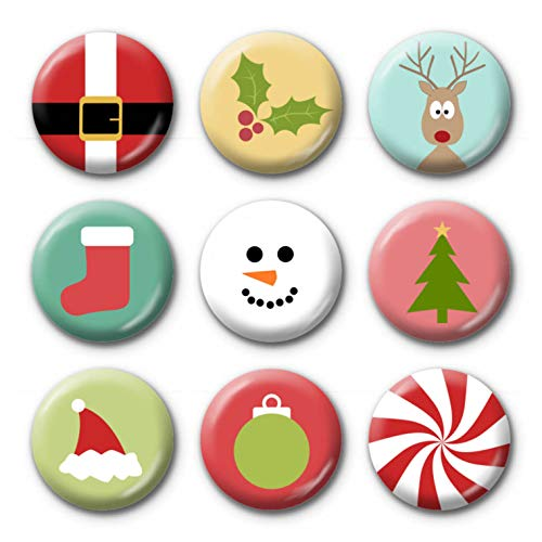 9-Pack Mini 1 Inch Buttons - Christmas Symbols Santa Stocking Tree Snowman ornament cute - Design 3343