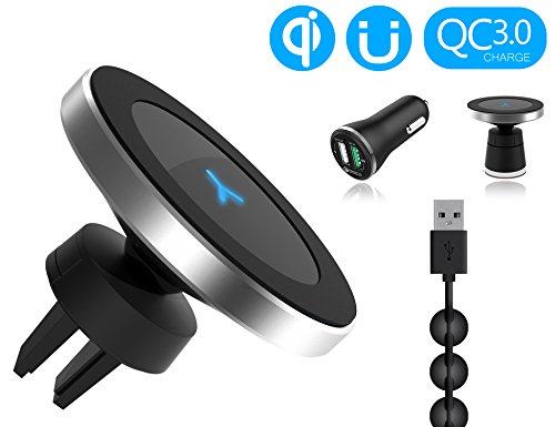 Wannap W5 Wireless Magnetic Qi Car Charger +Car Quick Charger 3.0 (QC 3.0) put to go series for Samsung Galaxy S8 S8 Plus S7 S7 Edge S6 Edge Note5 and More