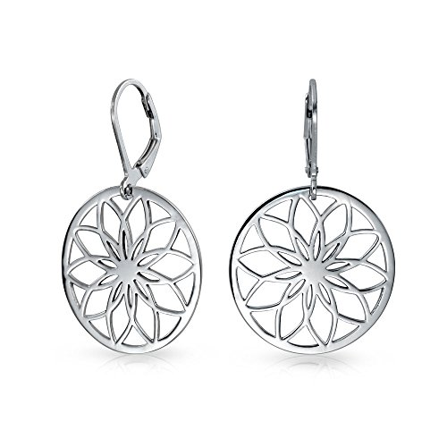 (Round Circle Disc Cutout Flower Leverback Dangle Earrings For Women 925 Sterling Silver)