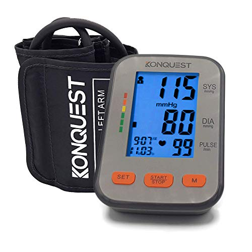 Best Monitors Blood Pressure (Konquest KBP-2704A Automatic Upper Arm Blood Pressure Monitor - Accurate, FDA Approved - Adjustable Cuff, Large Screen Display, Portable Case - Irregular Heartbeat & Hypertension Detector -Tensiometro)