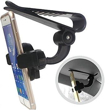 Takestop® - Soporte para Smartphone Z01 con clip gancho para el parasol, porta móvil, 360 grados universal, ajustable, para navegador GPS: Amazon.es: Electrónica